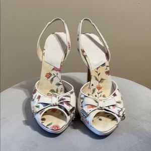 Dior Christian Dior Toile ivory floral bow heels